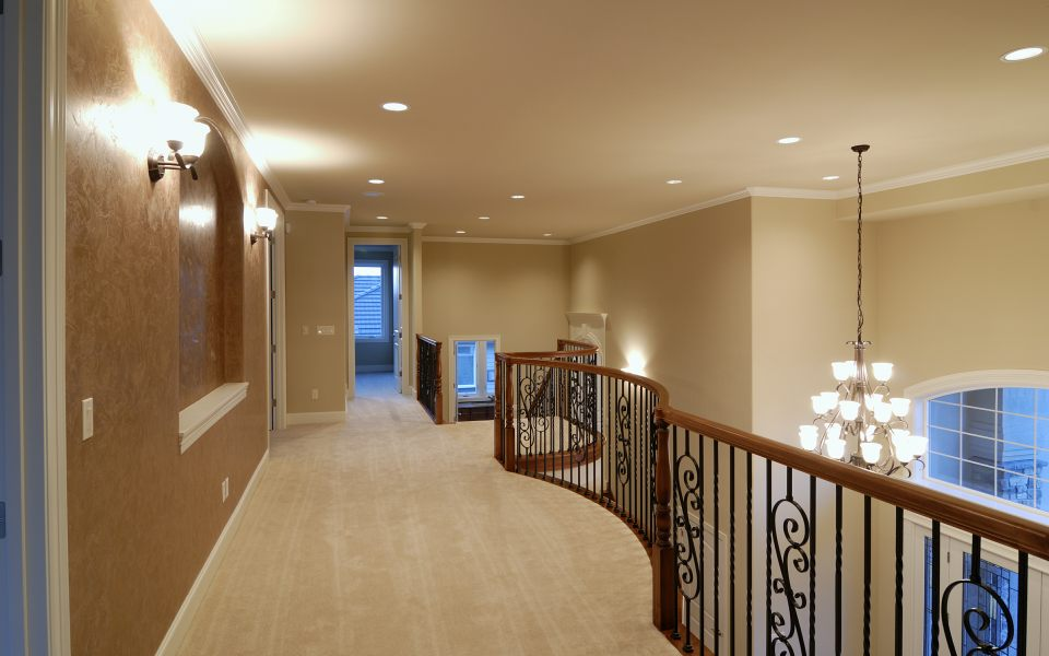 Residential home with beautiful lighting